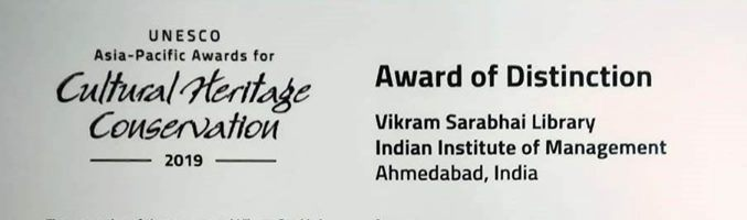 Vikram Sarabhai Library of IIMA receives 'Award of Distinction' by UNESCO