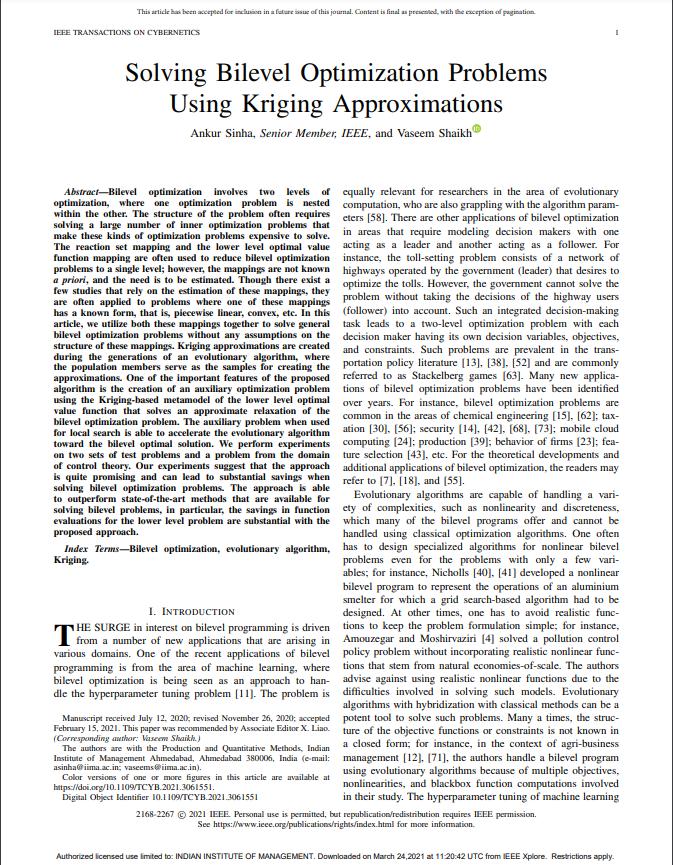 Solving Bilevel Optimization Problems Using Kriging Approximations