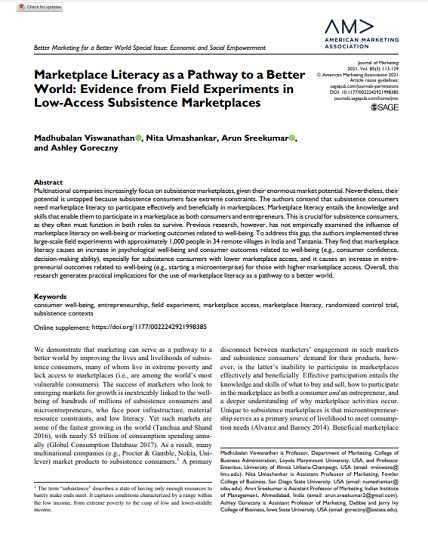 Marketplace Literacy as a Pathway to a Better World: Evidence from Field Experiments in Low-Access Subsistence Marketplaces