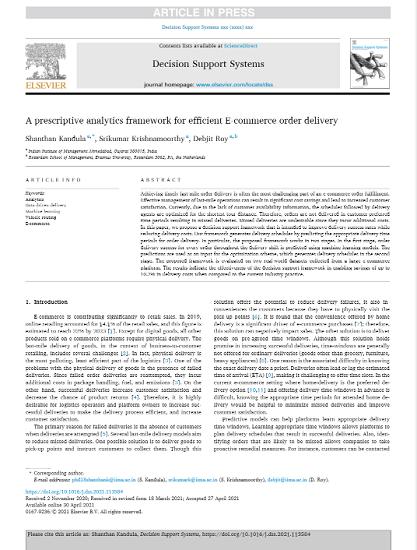 A prescriptive analytics framework for efficient E-commerce order delivery