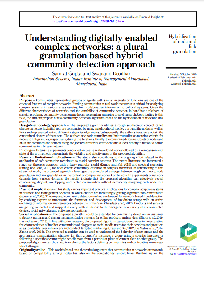 Understanding digitally enabled complex networks: a plural granulation based hybrid community detection approach