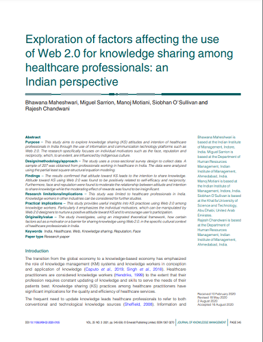 Exploration of factors affecting the use of Web 2.0 for knowledge sharing among healthcare professionals: an Indian perspective