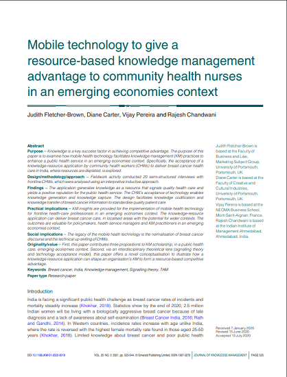 Mobile technology to give a resource-based knowledge management advantage to community health nurses in an emerging economies context