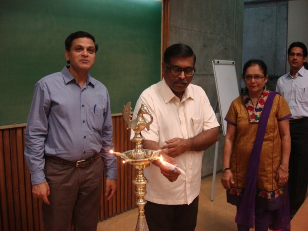 Lighting the Ceremonial Lamp by Dr. H Anilkumar (Librarian & Head NICMAN) at IIMA