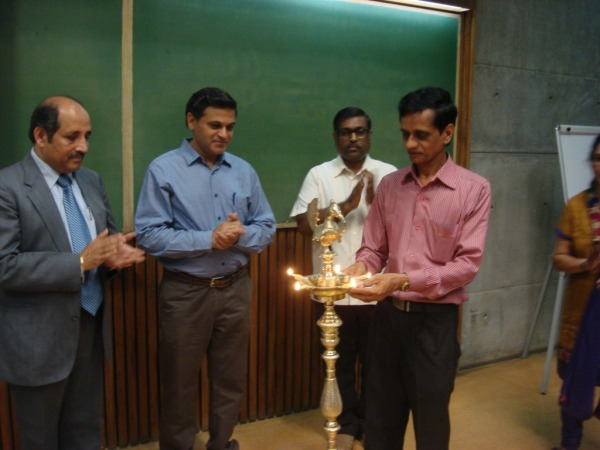 Lighting the Ceremonial Lamp by Mr. Upendra Pandya, Officer, IIM Ahmedabad