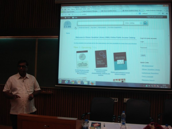 Dr H Anilkumar present the KOHA Customization on IIMA