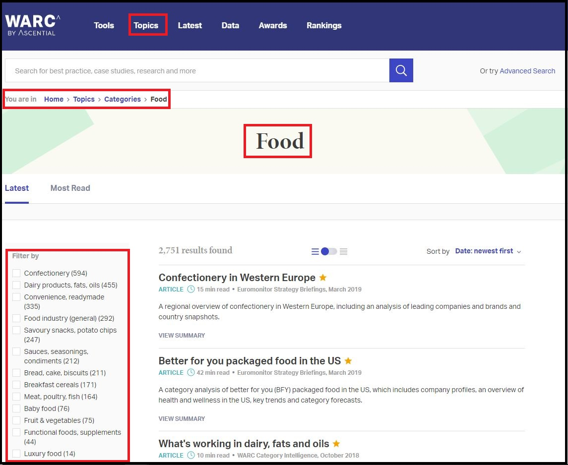 Click on WARC (World Advertising Research Center) then Select Topics Click on Categories Click on Food