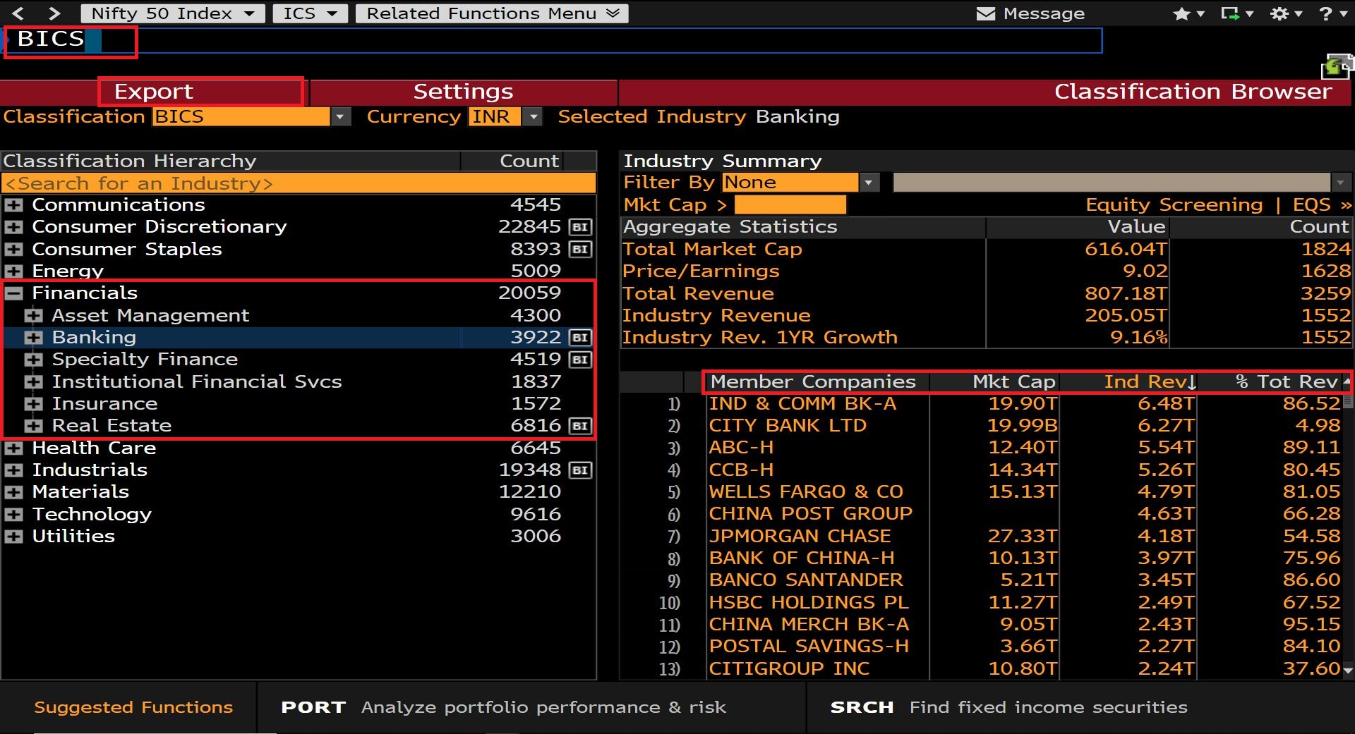 Login to Bloomberg (Available in Library) then Search for BICS and Select Financials and Select Required Industry