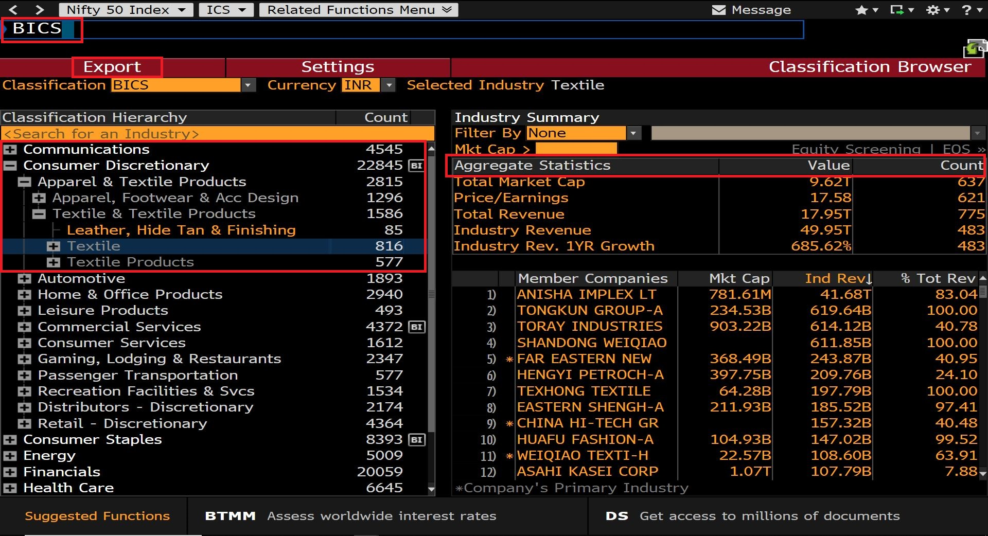 Login to Bloomberg (Available in Library) then Search for BICS and Select Consumer Discretionary and Click on Apparel, Textile Products and Click on Textile