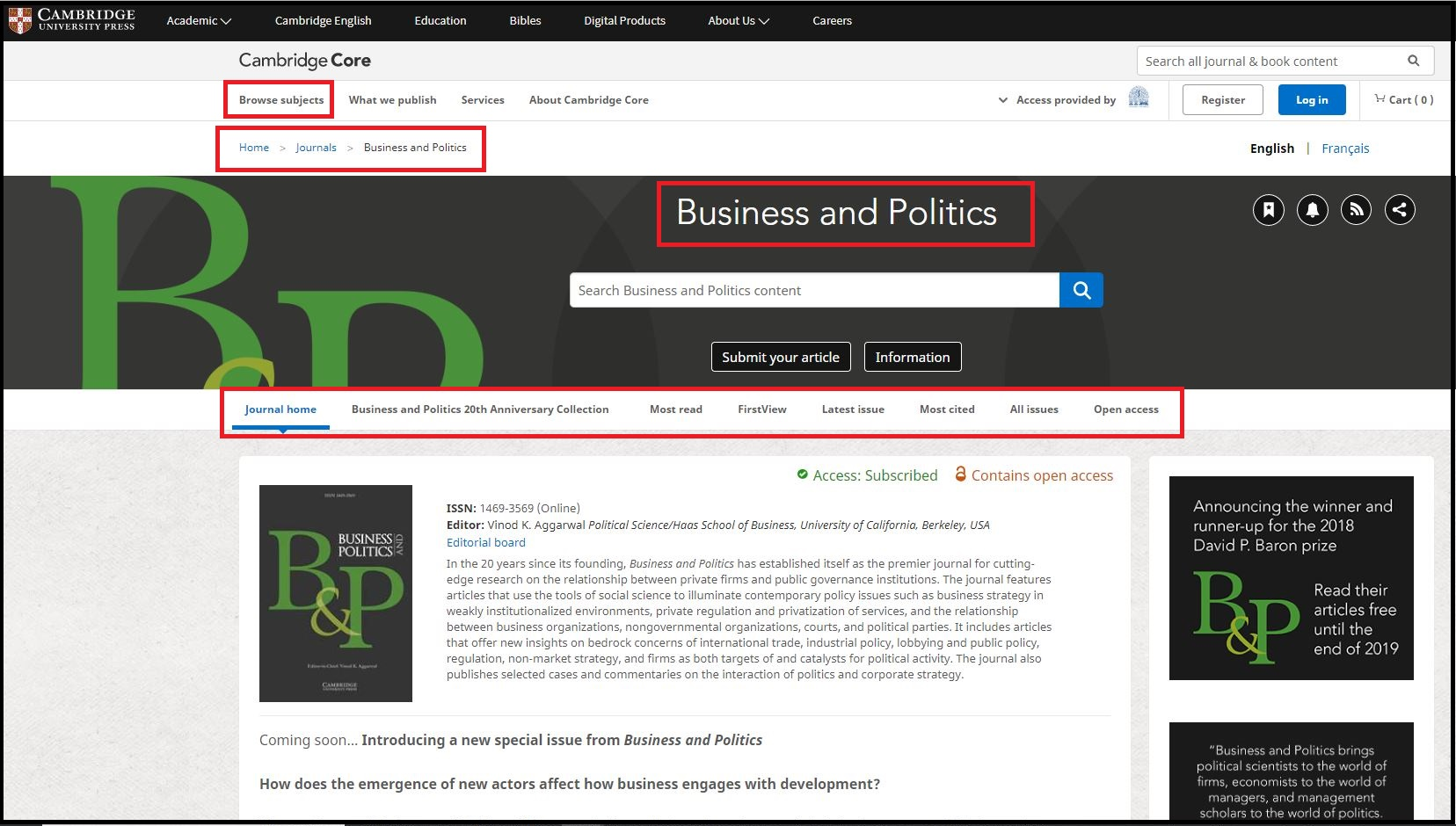 Open Cambridge University Press then Click on Browse Subjects and Select Management and Click on Business and Politics