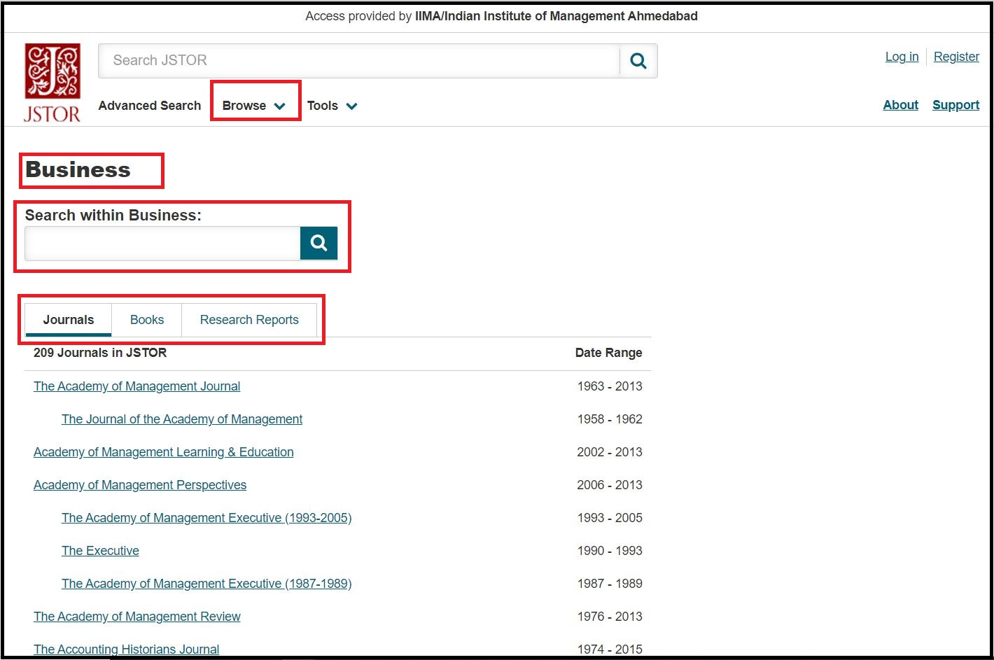 Open JSTOR then Click on Browse by Subjects and Select Business