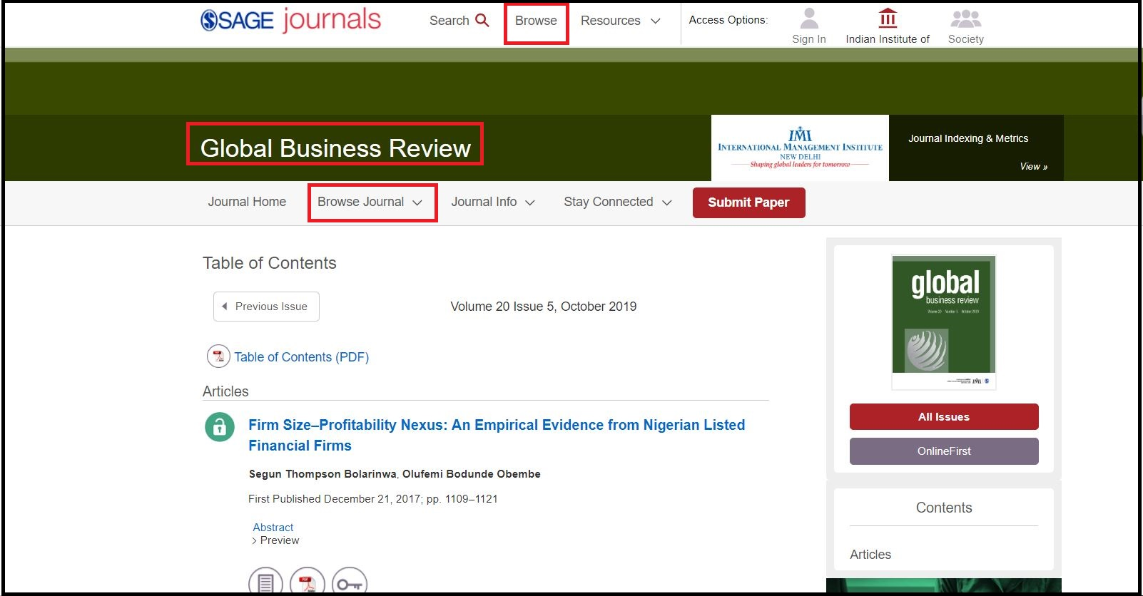 Open SAGE Journals then Click on Browse and Search For Required Subjects and Select your Required Journal