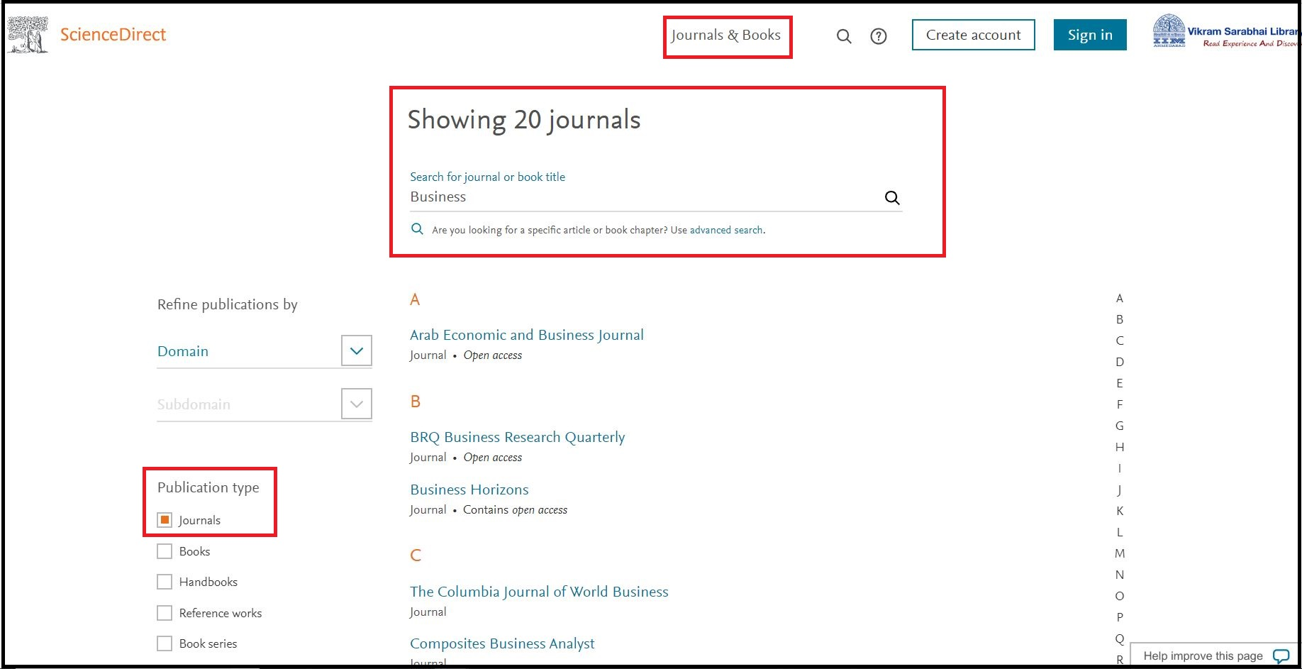 Open Science Direct (Elsevier) then Click on Journal & Books and Search for Required Subjects and Click on Required Publication Type