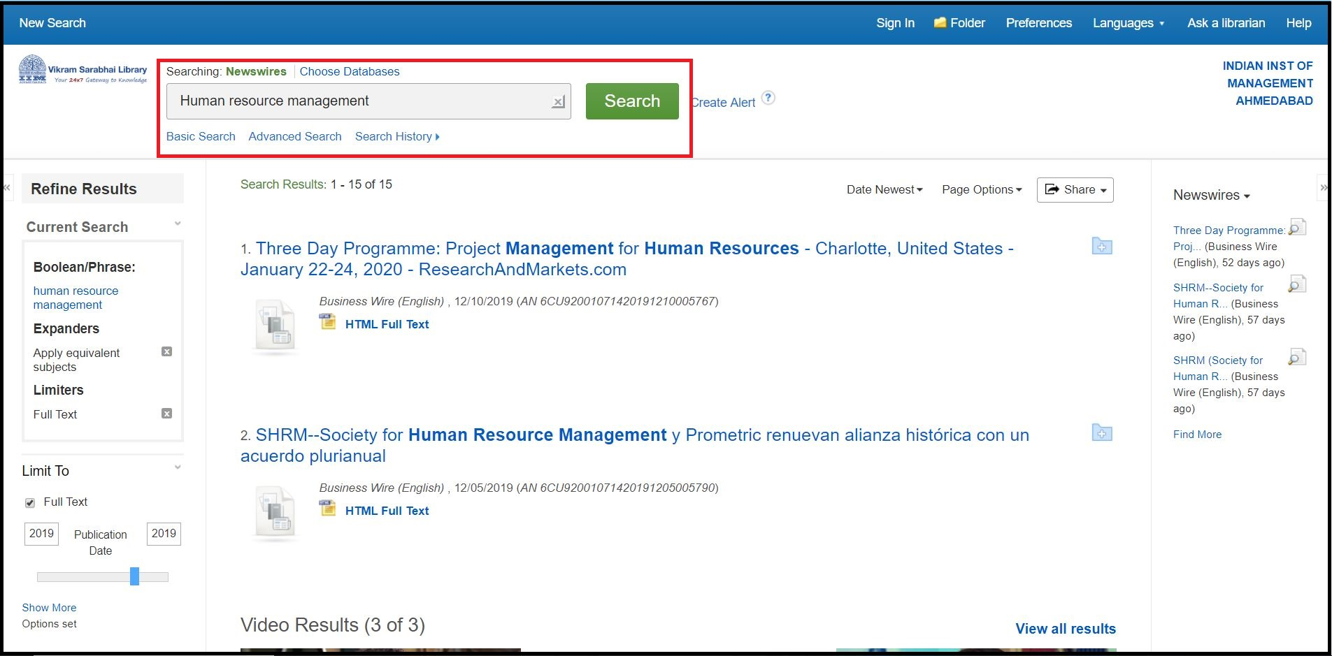 Open EBSCO Newswires then Search for Required Subjects and Click on Required Information