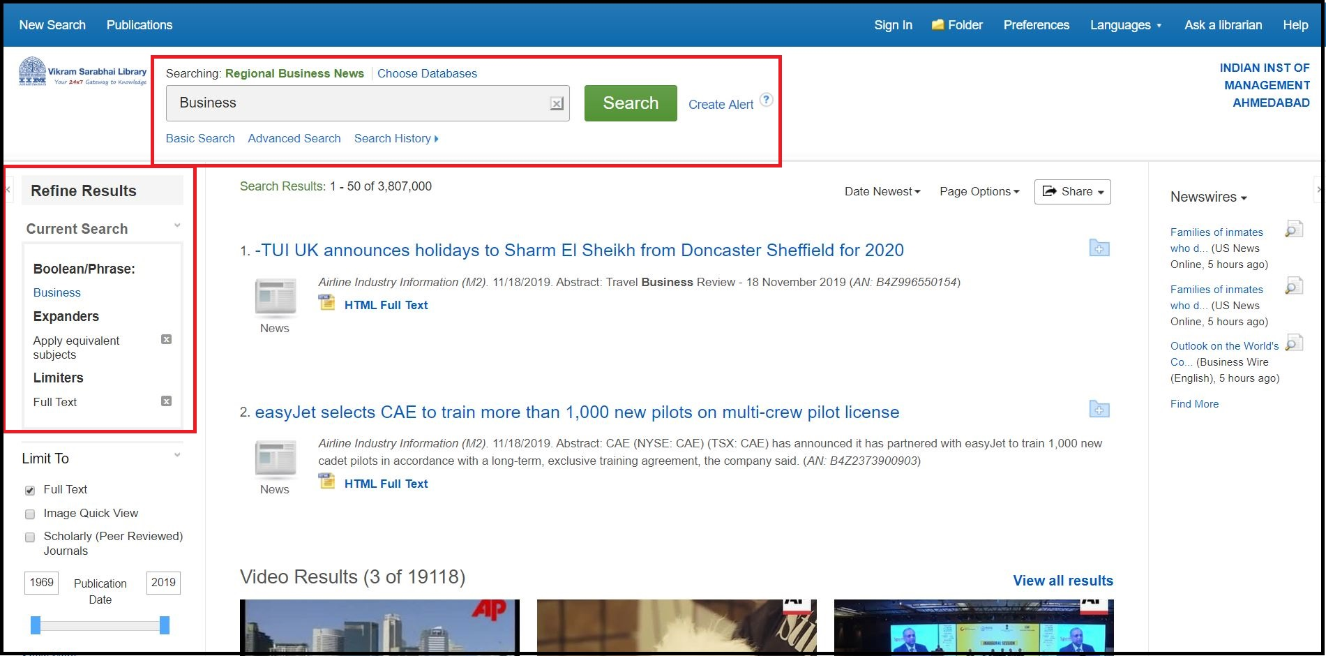 Open EBSCO Regional Business News then Search for Required Subjects and Click on Required Information