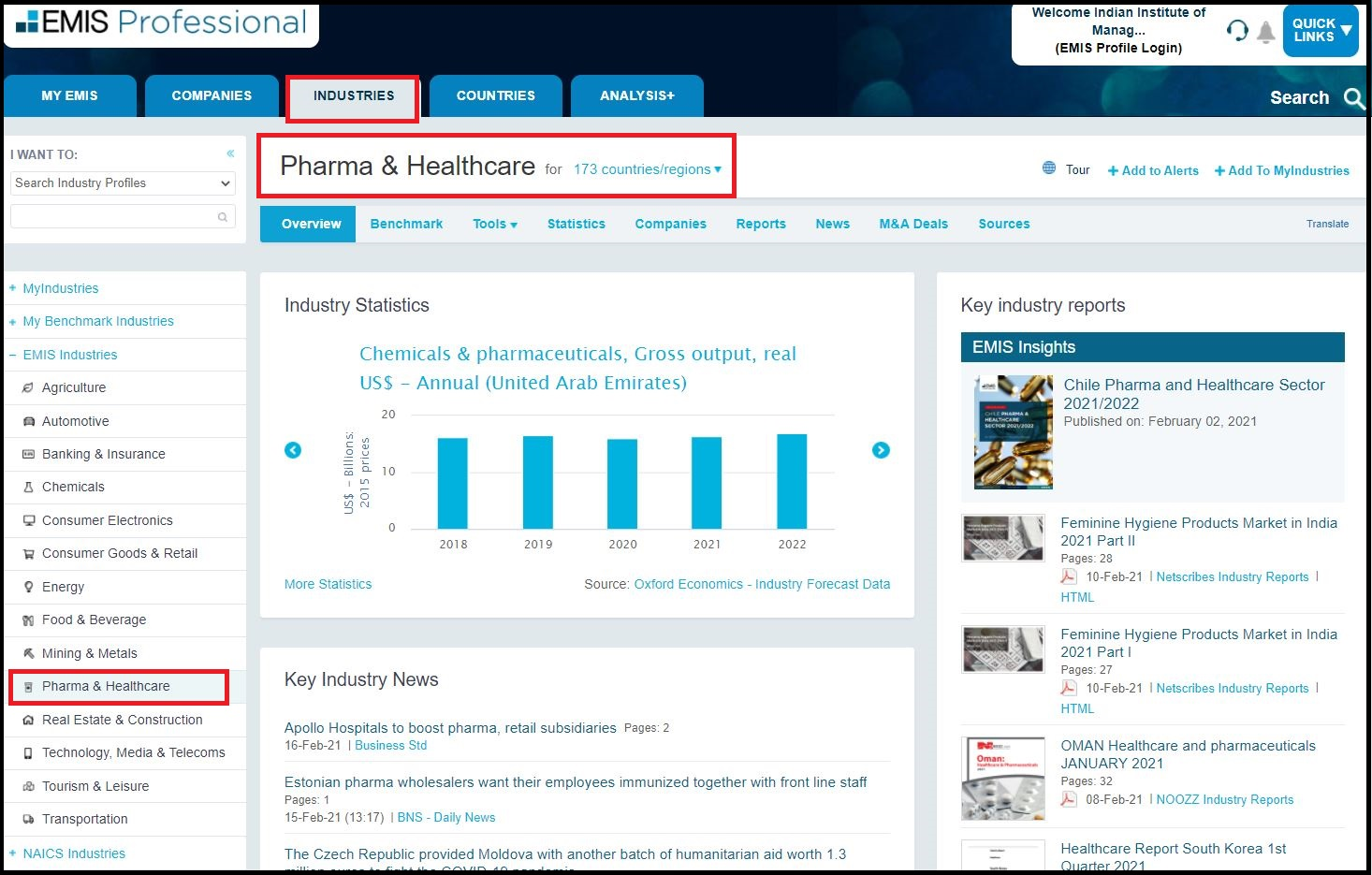 EMIS Intelligence (Professional) and Select Industry Analysis then Click on Pharma & Healthcare