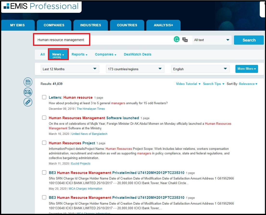 Open EMIS Intelligence (Professional) then Search for Required Subjects and Click on News