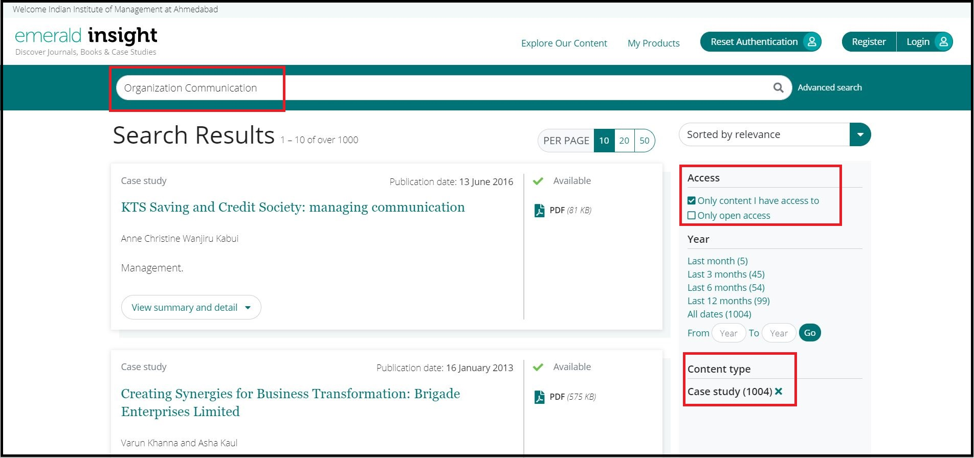 Open Emerald eCases then Search for Required Subjects and Click on Required Content Type