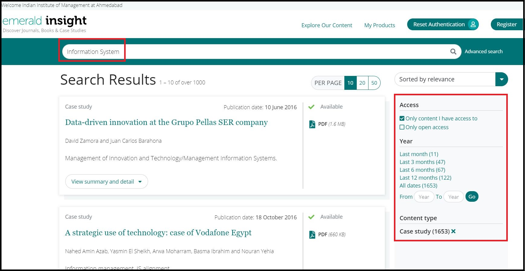 Open Emerald eCases then Search for Required Subjects and Click on Required Information
