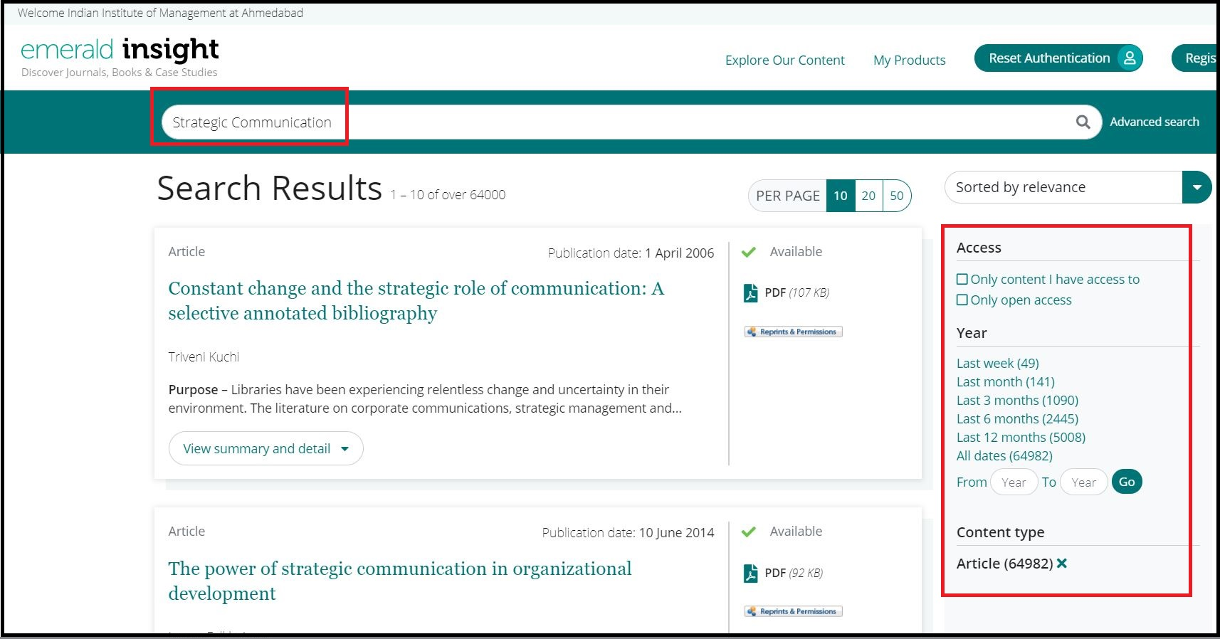 Open Emerald Insight then Search for Required Subject and Click on Required Content type
