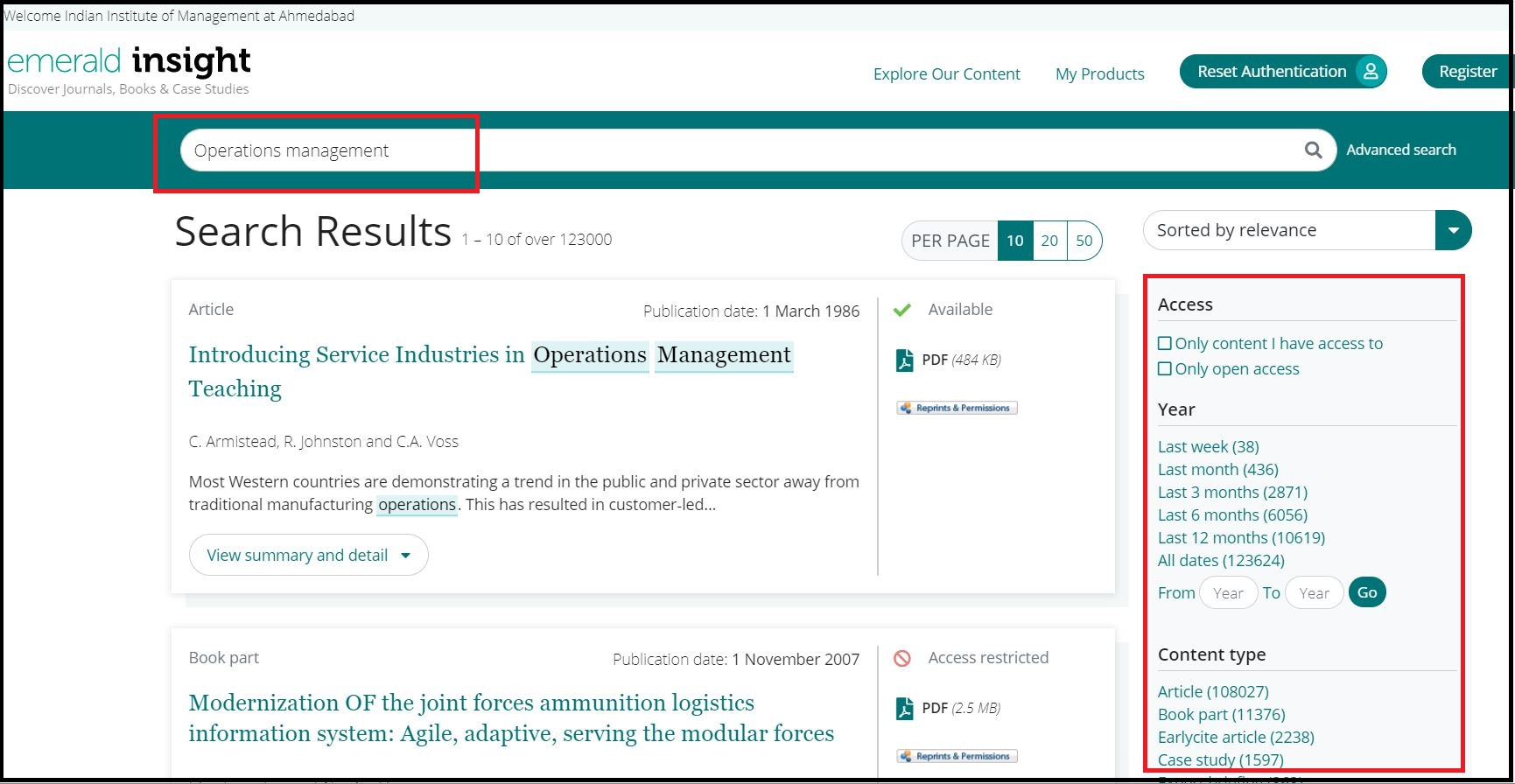 Open Emerald Insight then Search for Required Subject and Click on Required Content type e.g. Article
