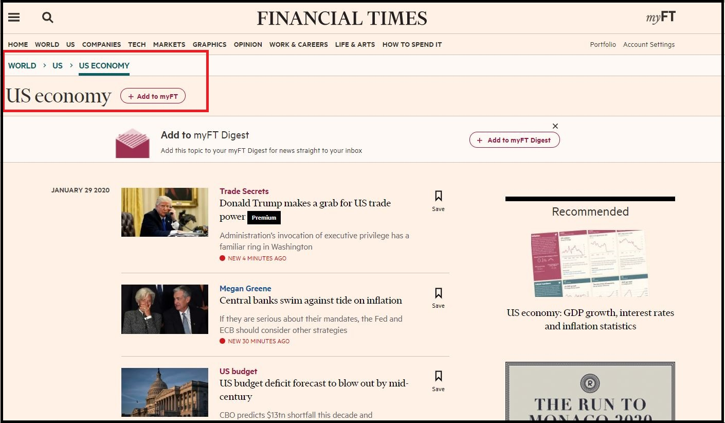 Open FinancialTimes.com then Search for Required Subject and Click on Required Information