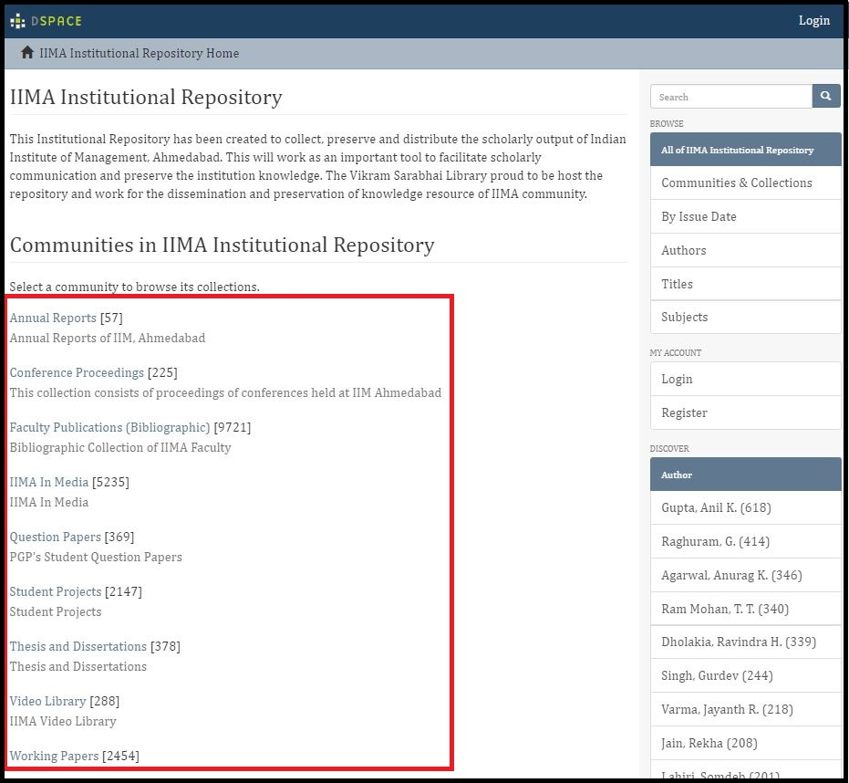 Open Institutional Repository then Click on Required Content type and Search for the required subject