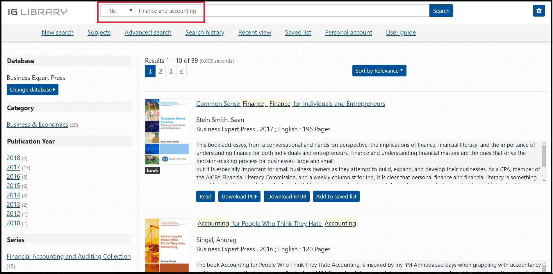 Open Business Expert Press e-Books (2009-2018) then Search for Required Subjects