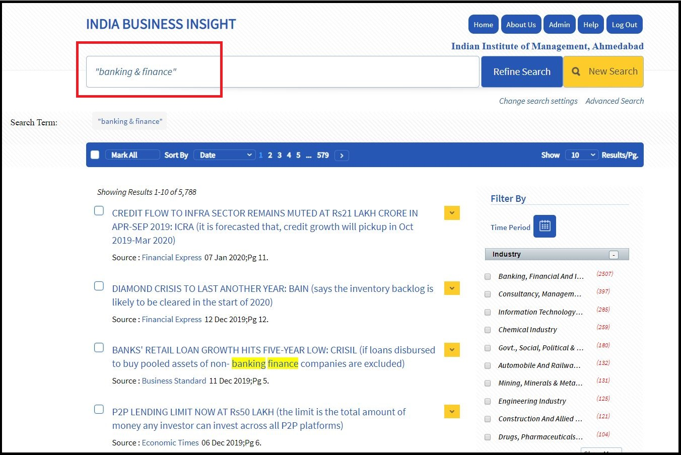 Open India Business Insight Database (IBID) then Search for Required Subjects and Click on Required Information