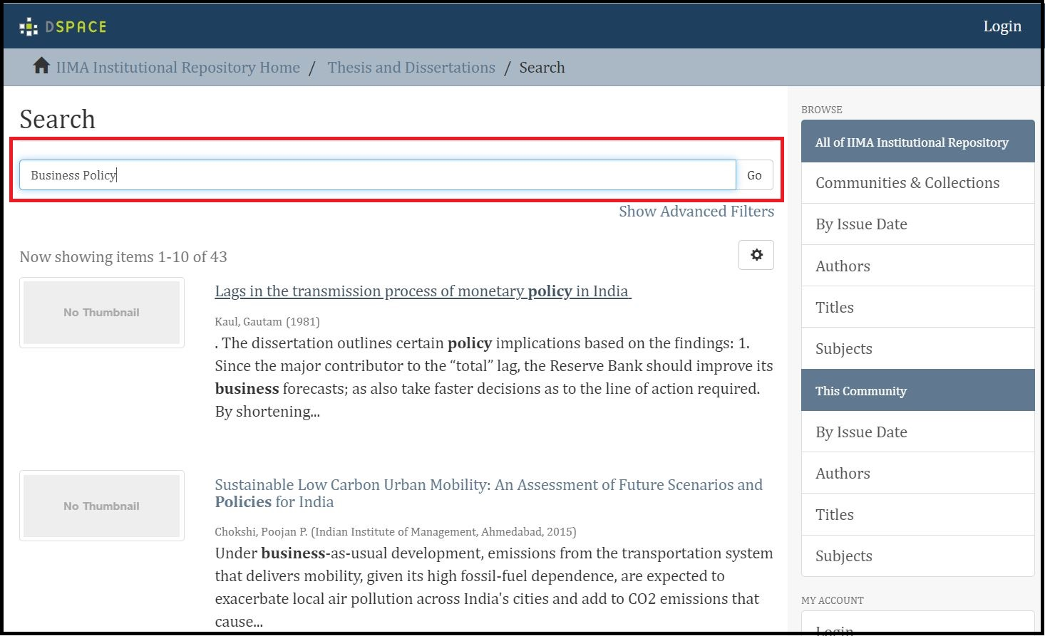 Open Institutional Repository then Click on Required Information and search for required subject