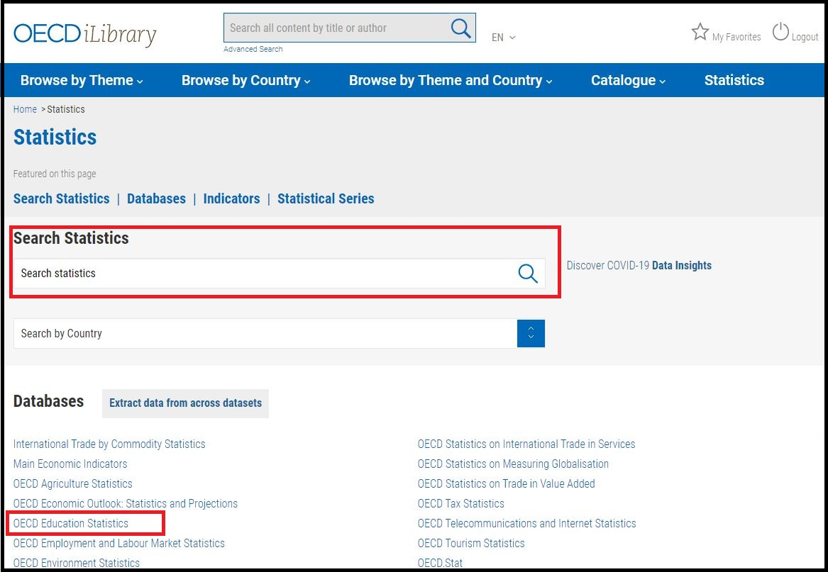 Open OECD & IEA Statistics then Search for Education Statistics (or) Click on OECD Education Statistics
