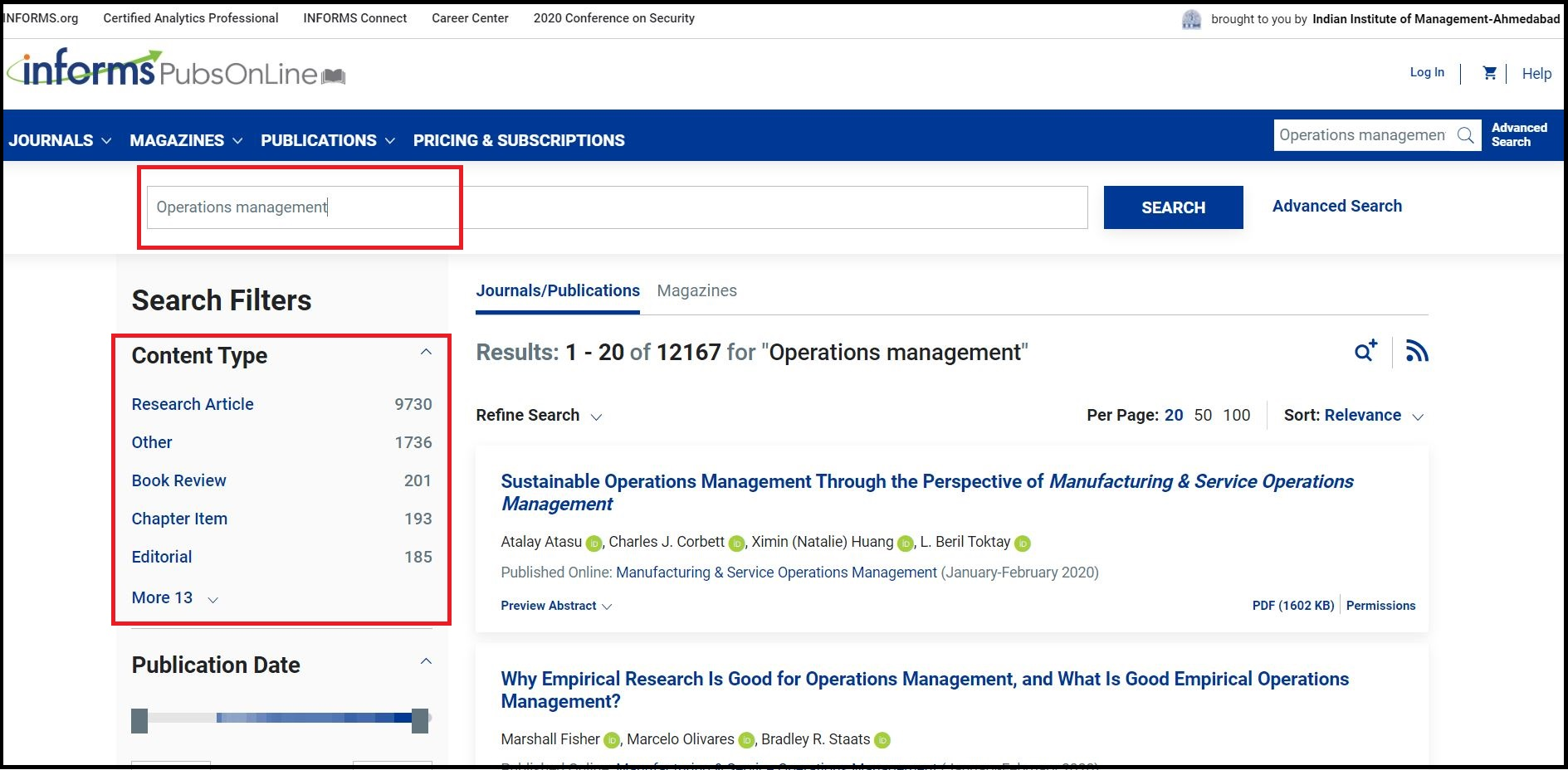 Open INFORMS PubsOnline then Search for Required Subject and Click on Required Content type e.g. Research Article