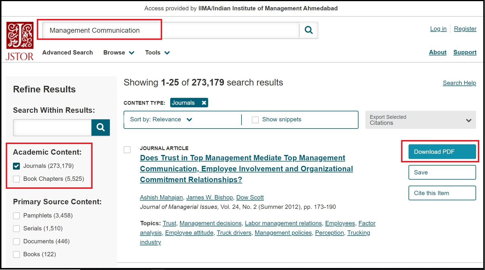 Open JSTOR then Search for Required Subject and Click on Required Academic Content e.g. Journals