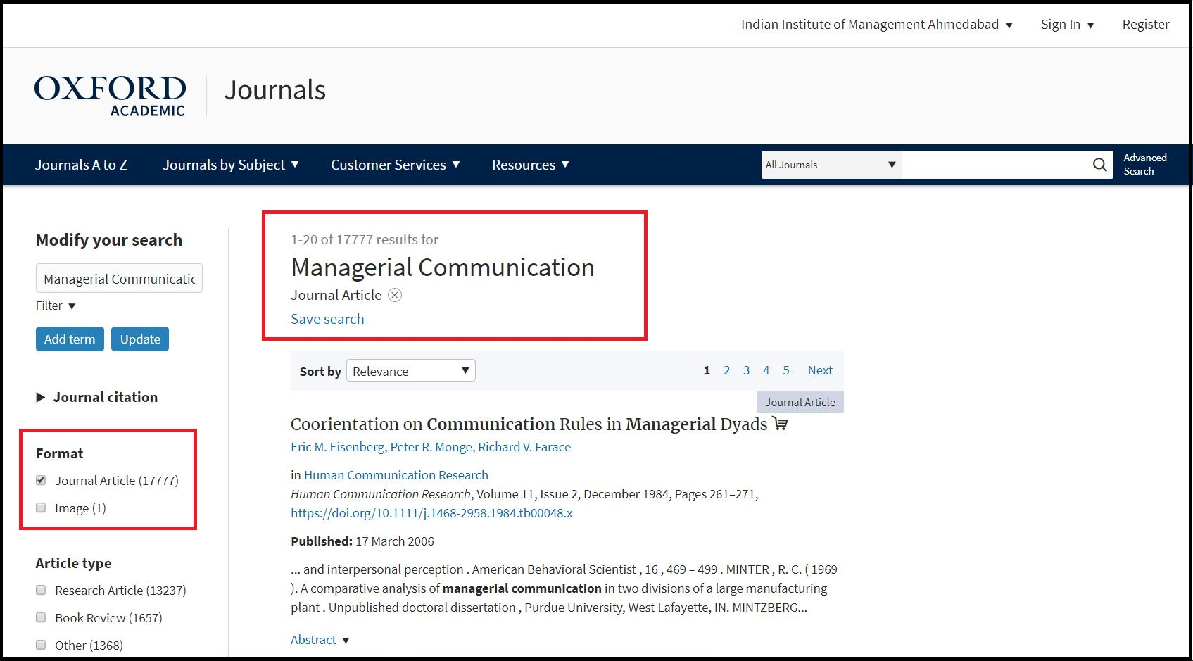 Open Oxford University Press then Search for Required Subject and Click on Required Format e.g. Journal Article