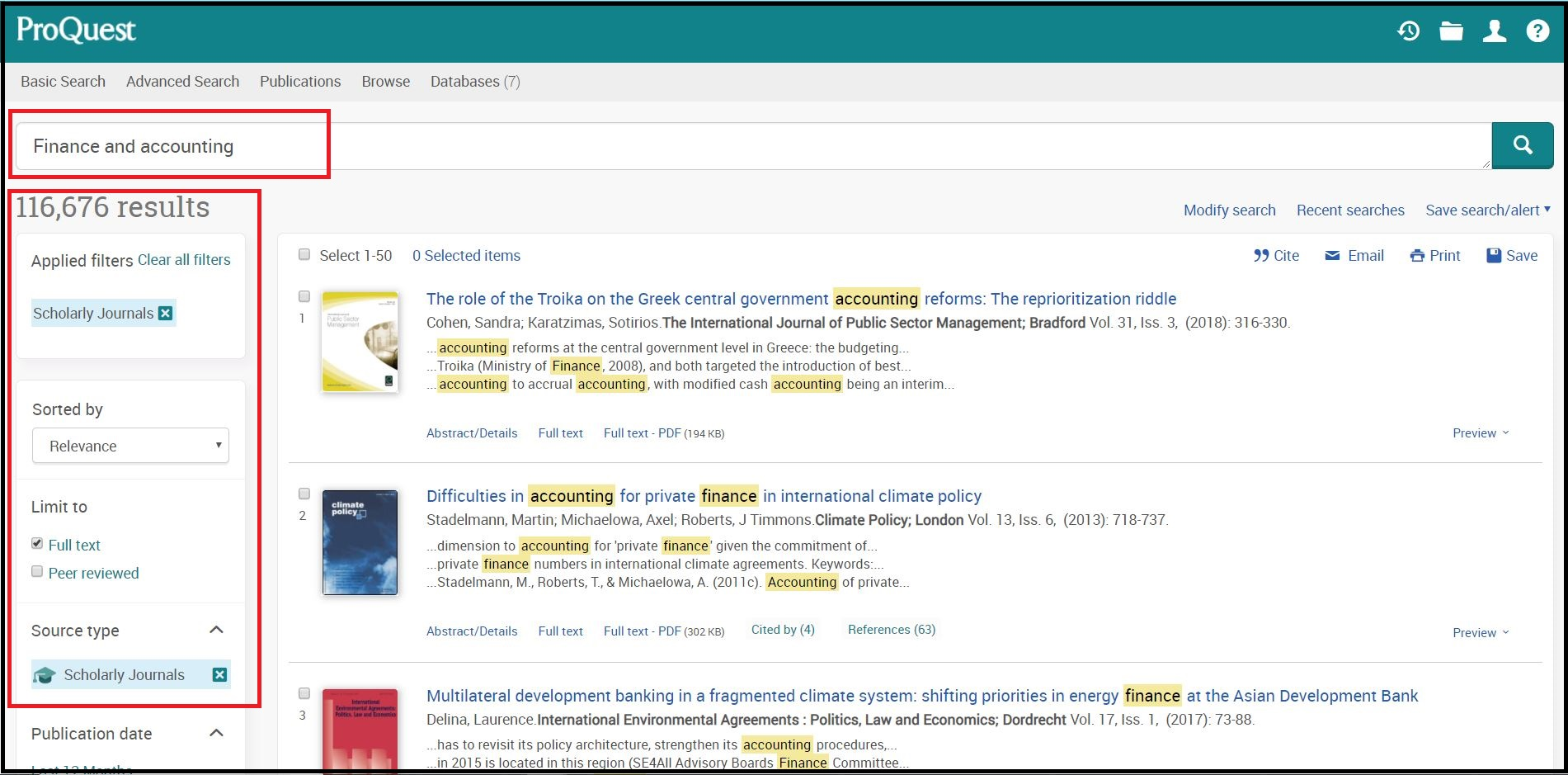 Open ProQuest ABI/INFORM (Dateline, Global, Trade & Industry) then Search for Required Subject and  Click on Required Source Type e.g. Scholarly Journals