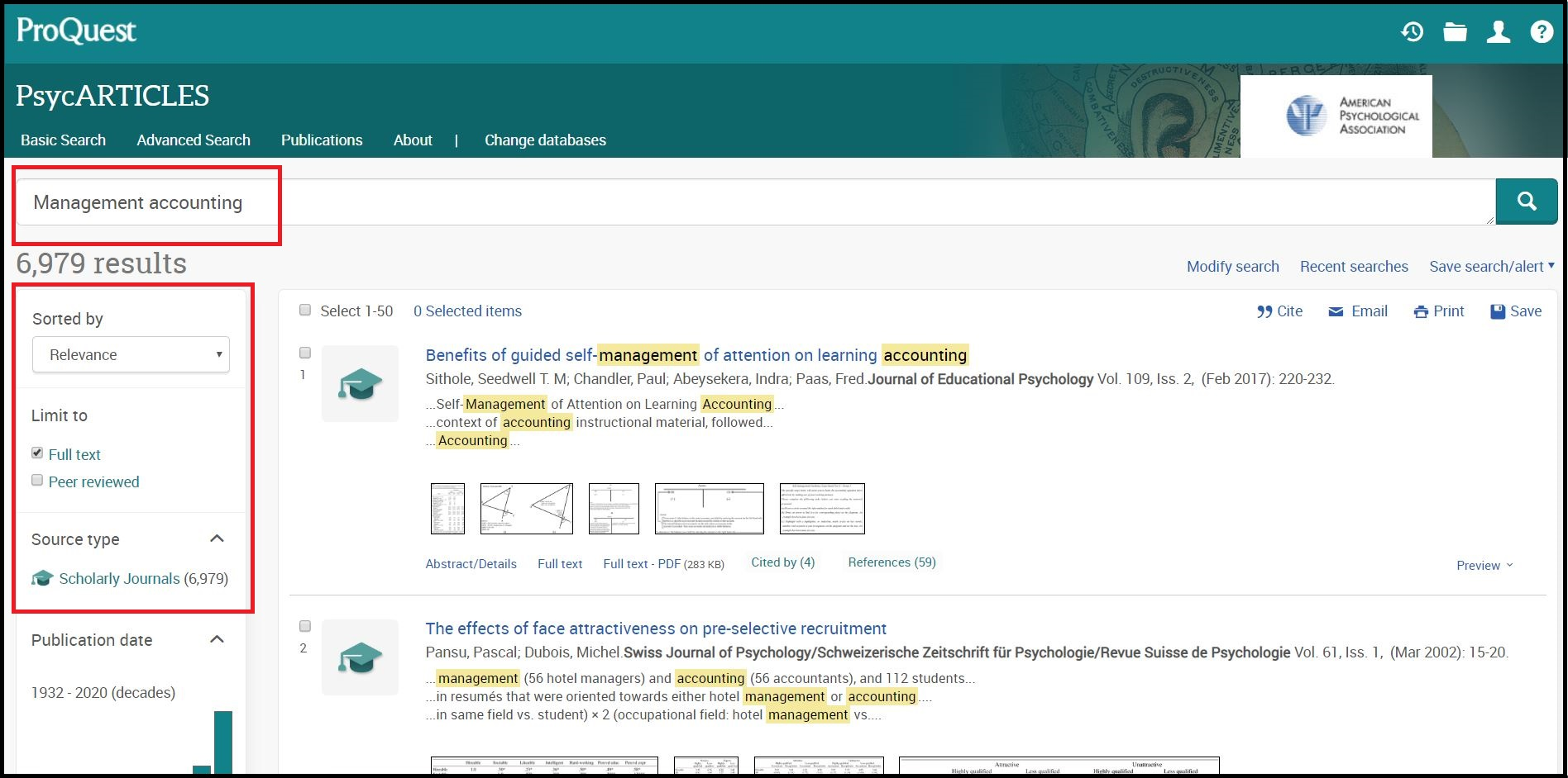 Open ProQuest PsycARTICLES then Search for Required Subject