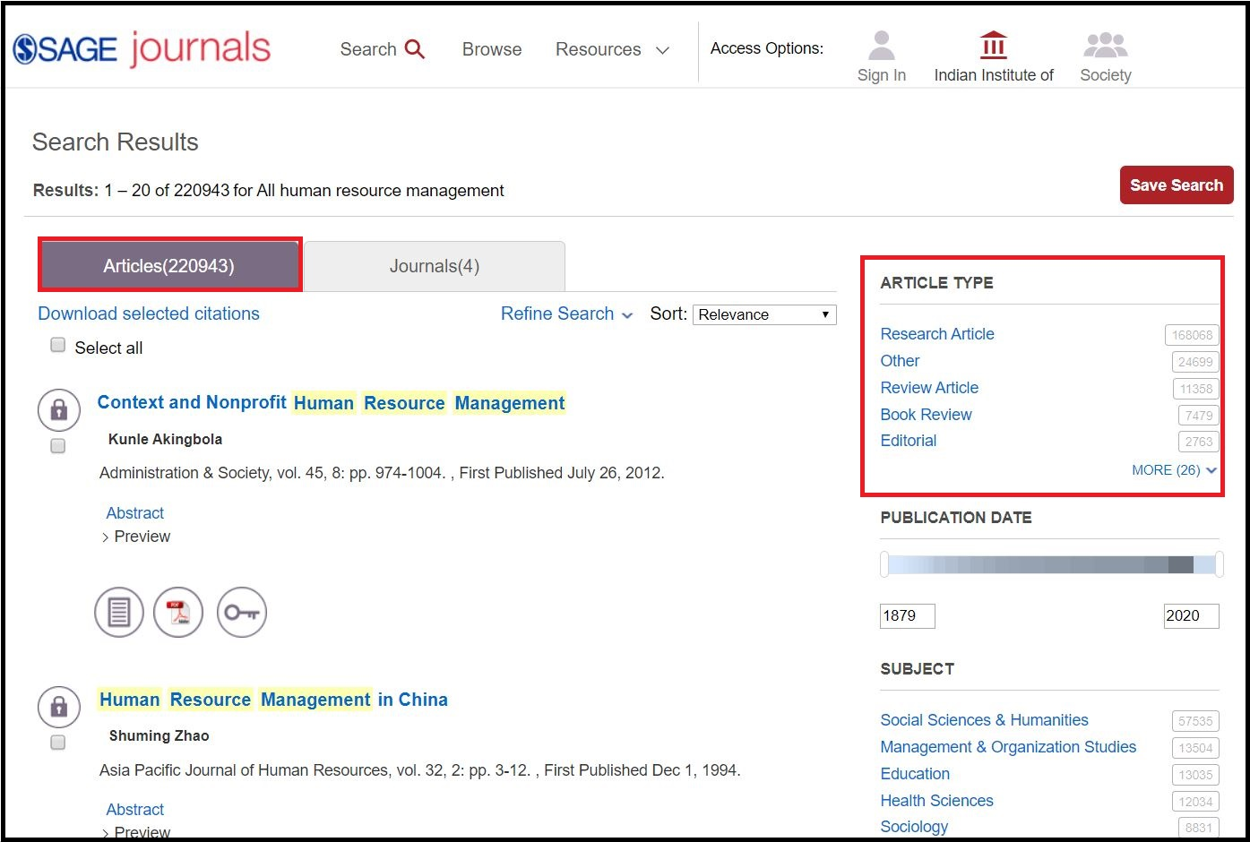 Open SAGE Journals then Search for Required Subject and Click on Required Article Type