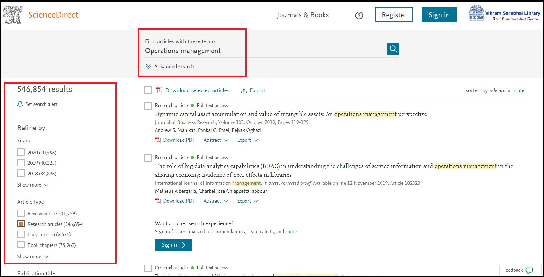 Open Science Direct (Elsevier) then Search for Required Subject and Click on Required Article Type