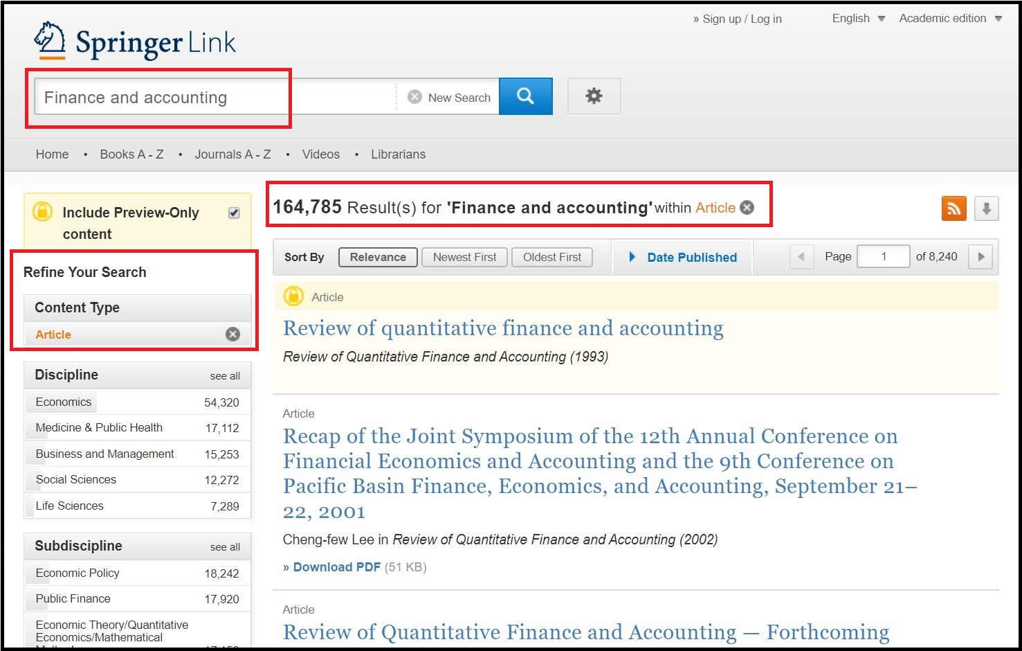 Open Springer Link then Search for Required Subject and Click on Required Content Type then Click on Required Discipline