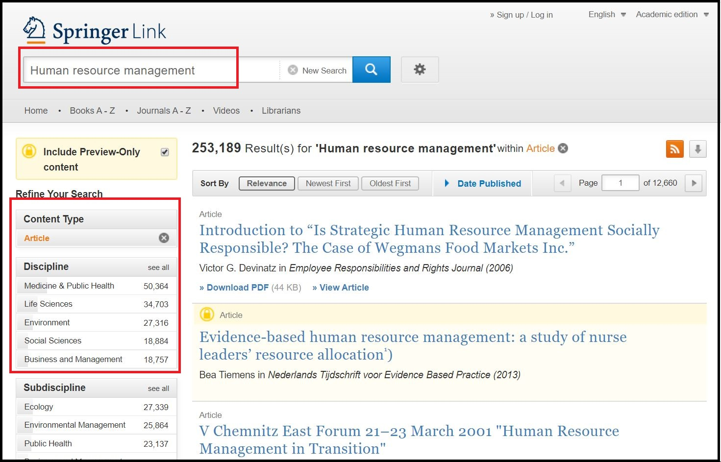 Open Springer Link then Search for Required Subject and Click on Required Content Type and Click on Required Discipline