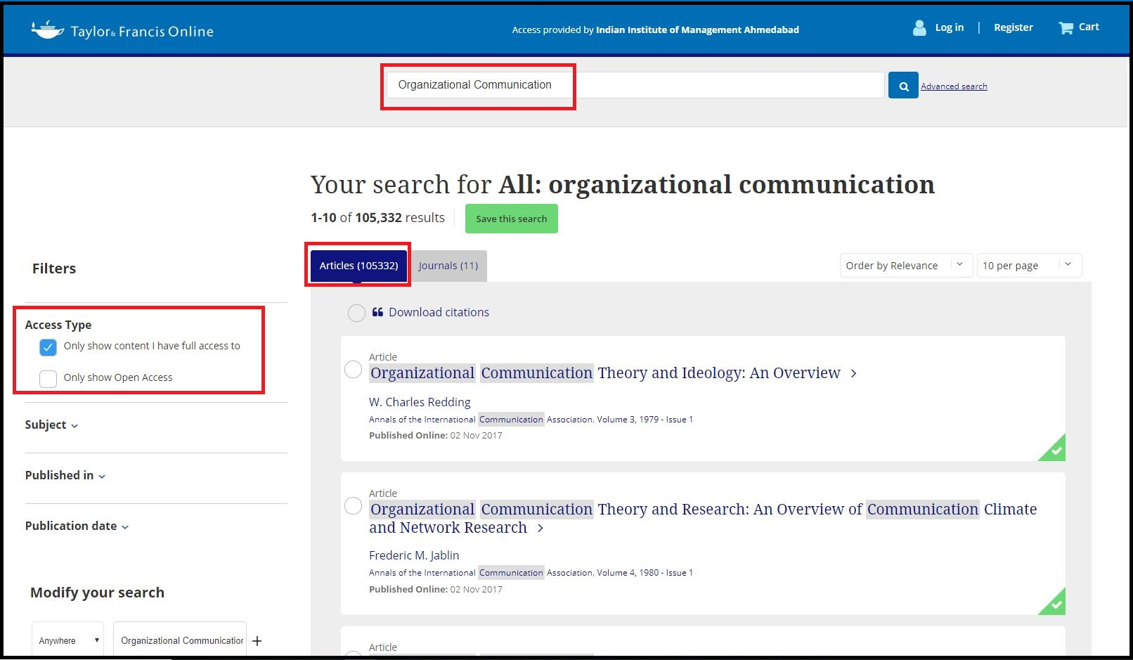 Open Taylor and Francis Online then Search for Required Subject