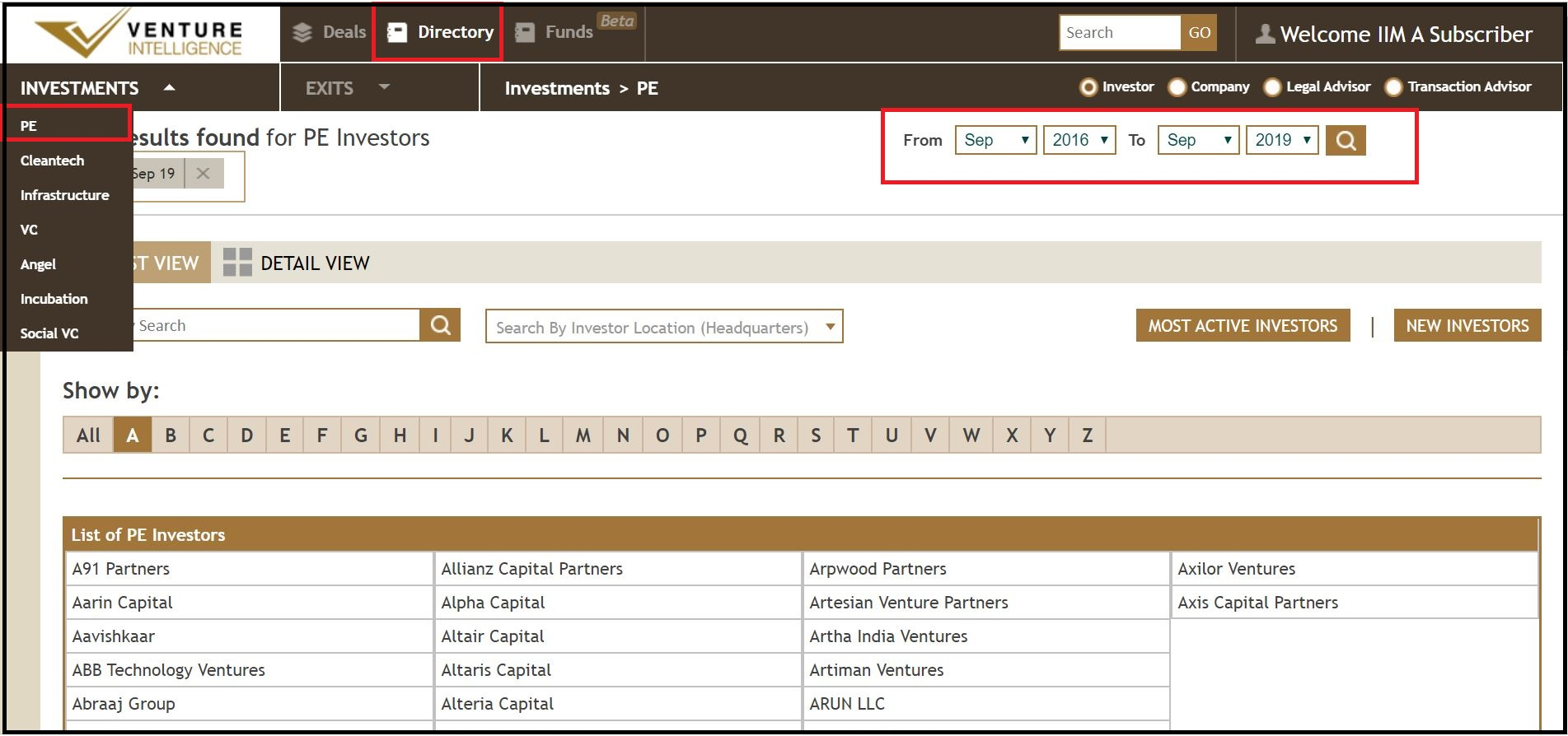 Open Venture Intelligence then Select Directory and it will Show by Investor and Select required Investments like PE
