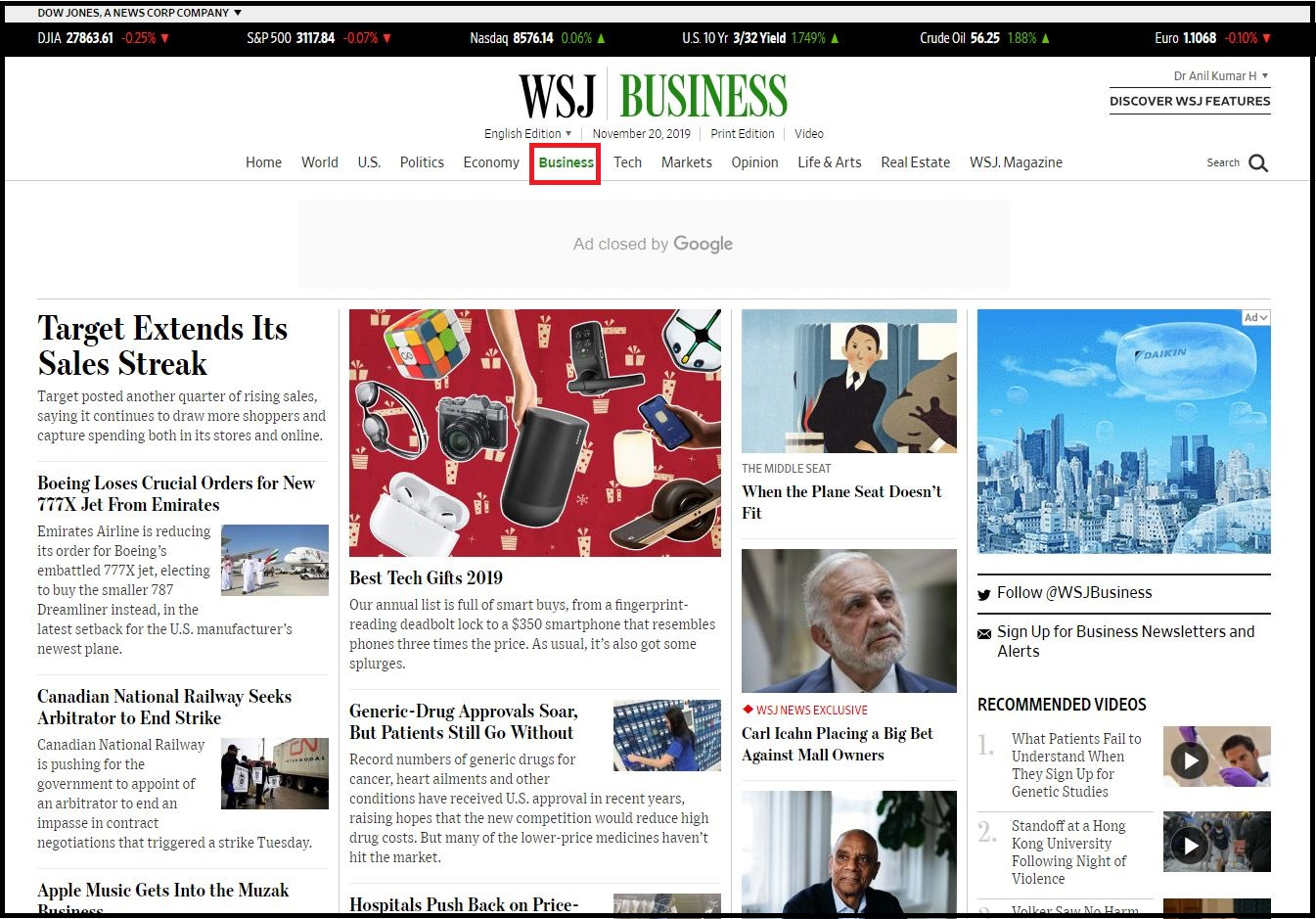 Open Wall Street Journal then Login with WSJ Credentials and Click on Business