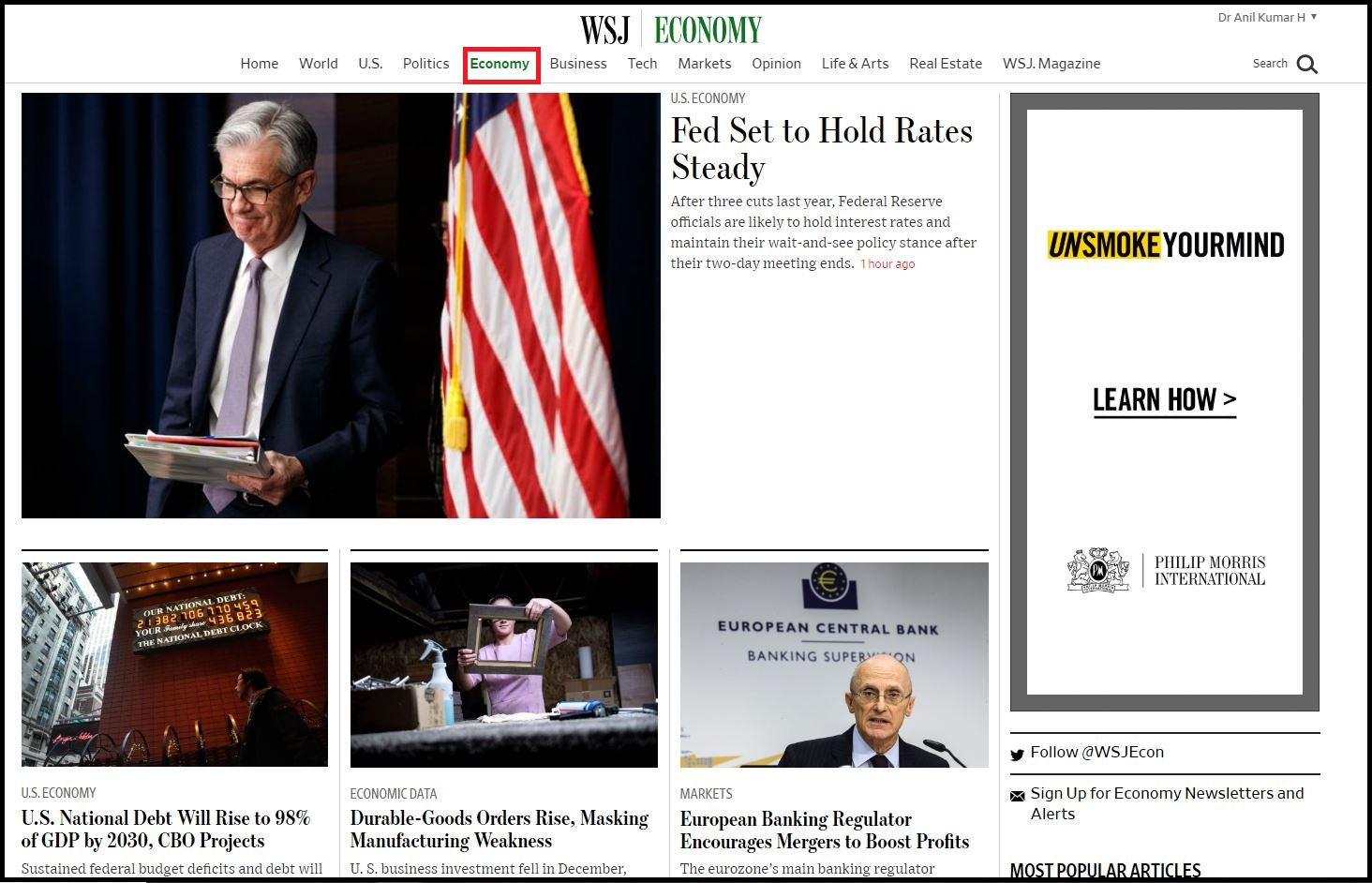 Open Wall Street Journal then Login with WSJ Credentials and Click on Economy