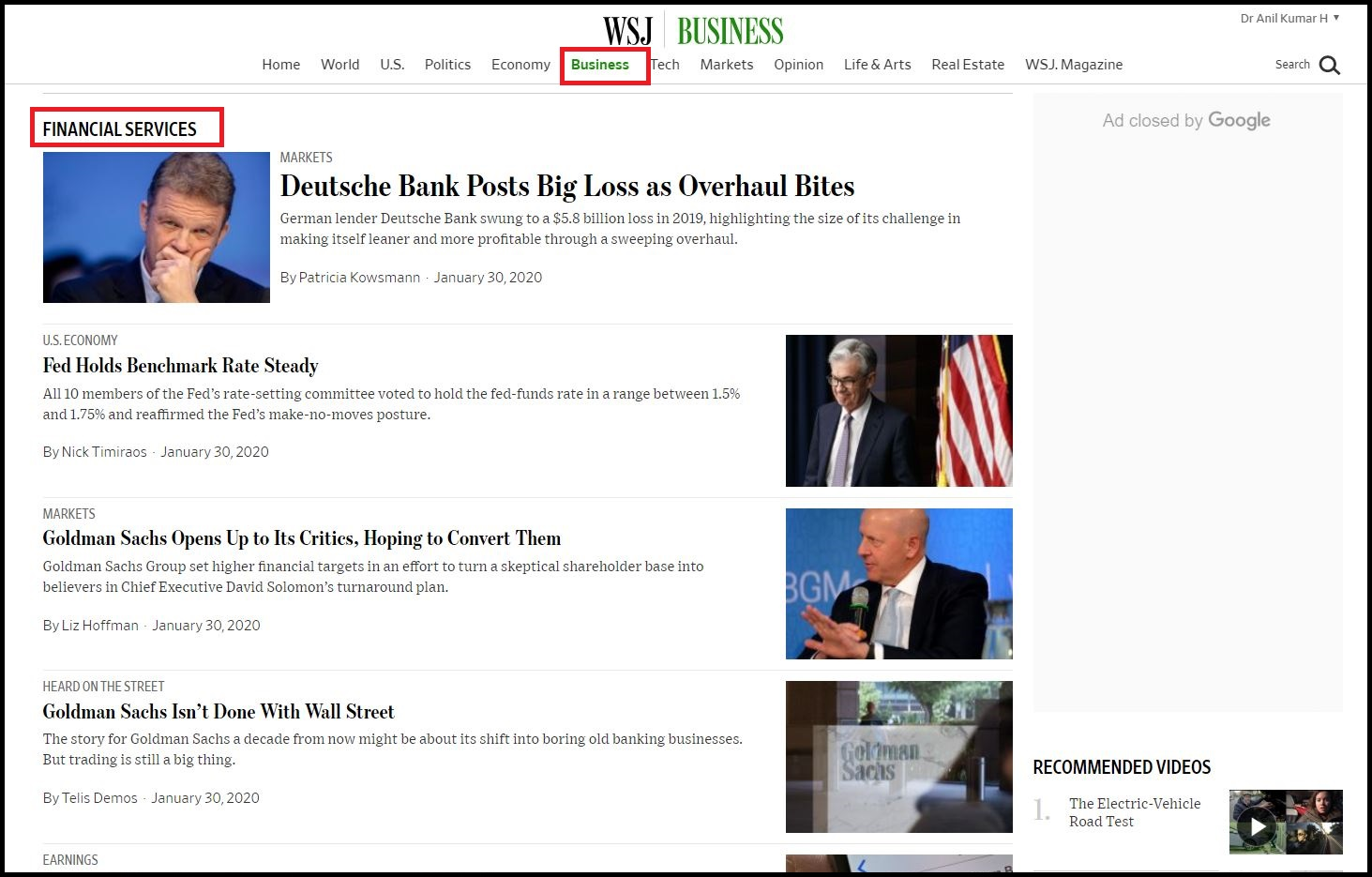 Open Wall Street Journal  Login with WSJ Credentials then Click on Business and Select Financial Services