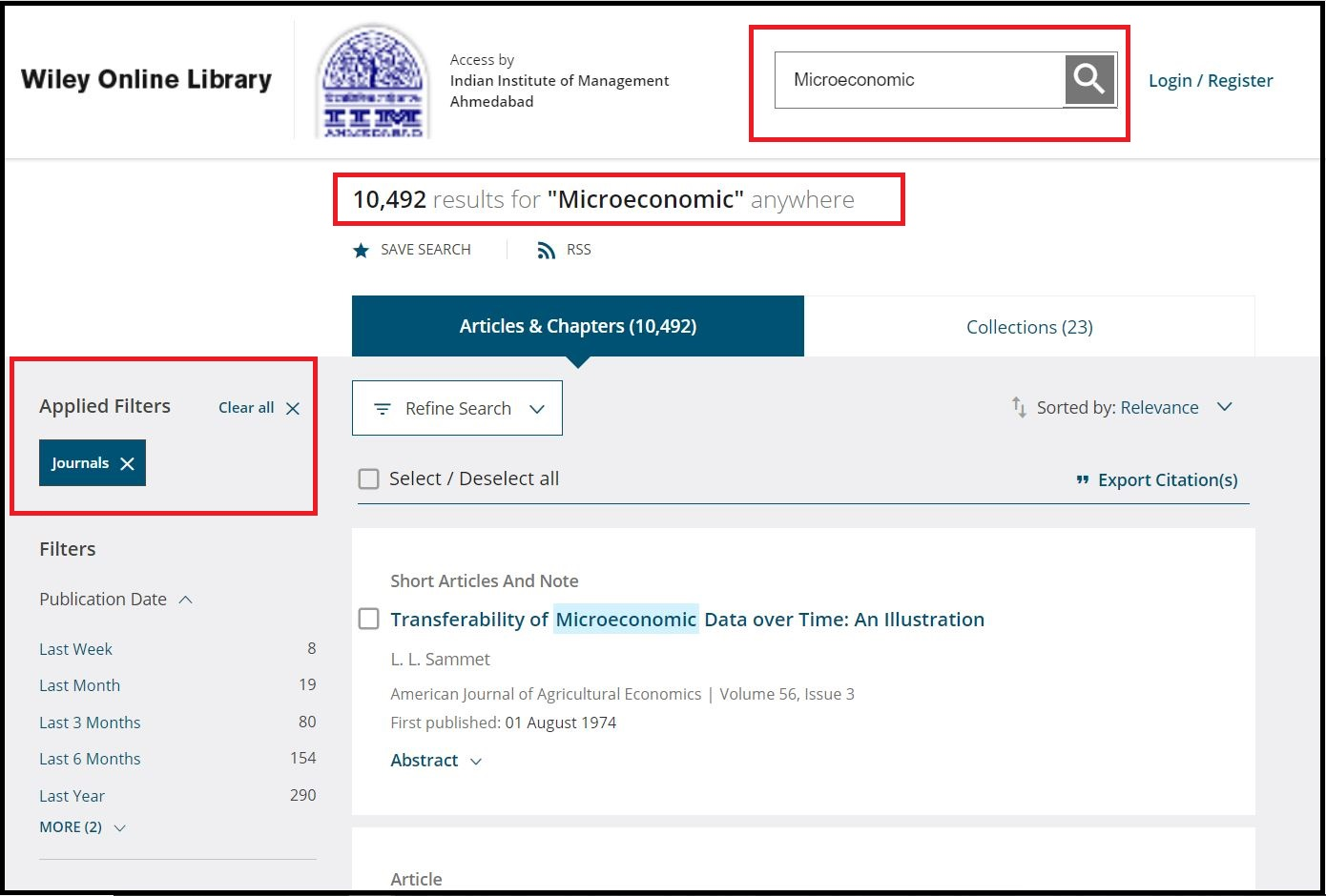 Open Wiley Online Library then Search for Required Subject and Click on Required Publication Type