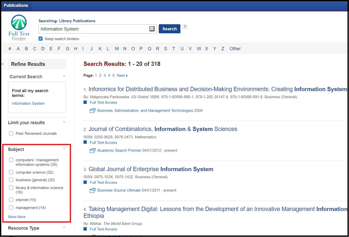 Open A-Z eJournal  then Search with your required Journal name and Left sidebar your select required subject